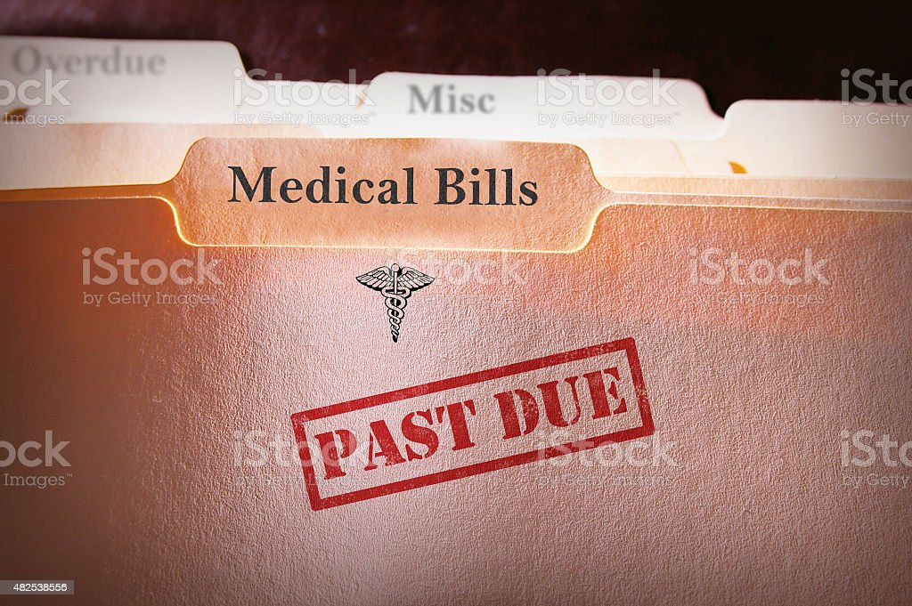 Past Due Medical Bills folder stock photo
