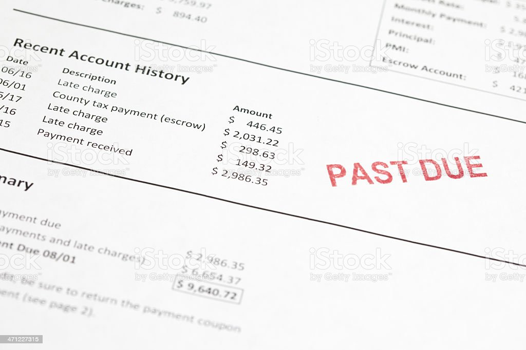 Past due mortgage statement royalty-free stock photo
