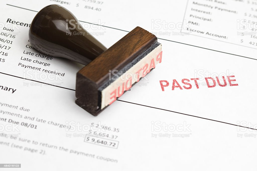 Past due mortgage statement with stamp stock photo