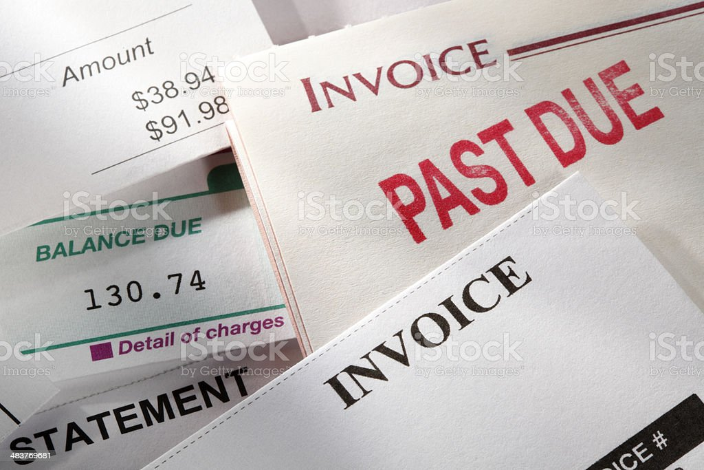 Past due notice stamped on an invoice stock photo