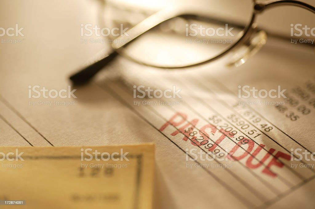 Past due stamped on aninvoice stock photo