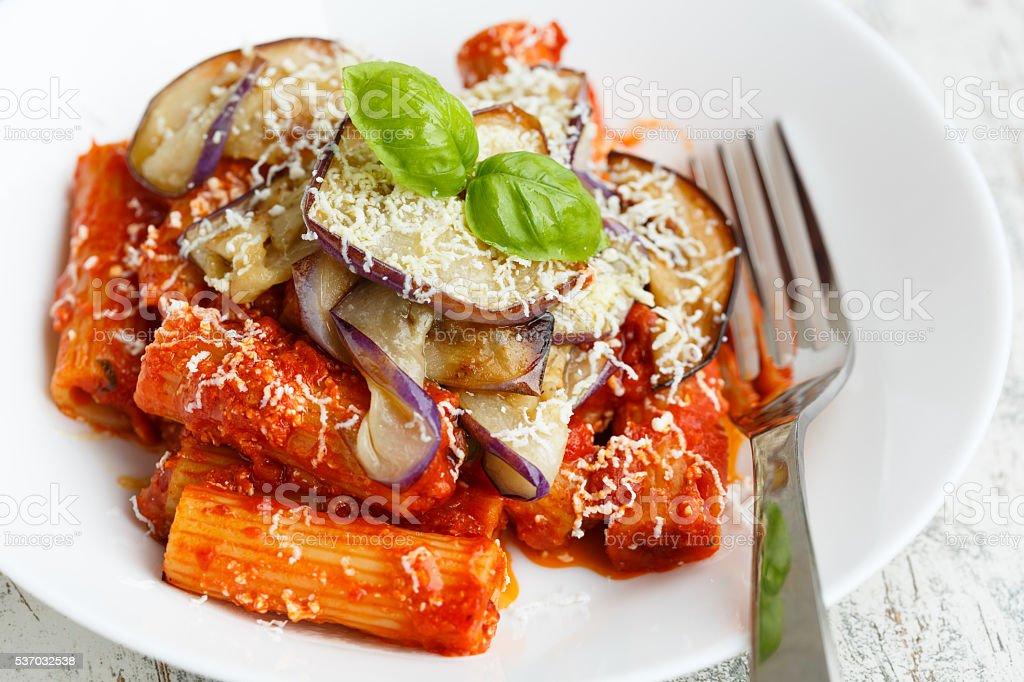 Pasta alla Norma stock photo