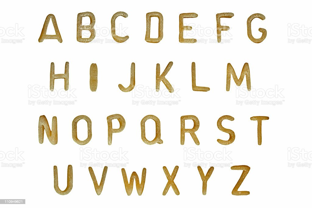 pasta alphabet font stock photo