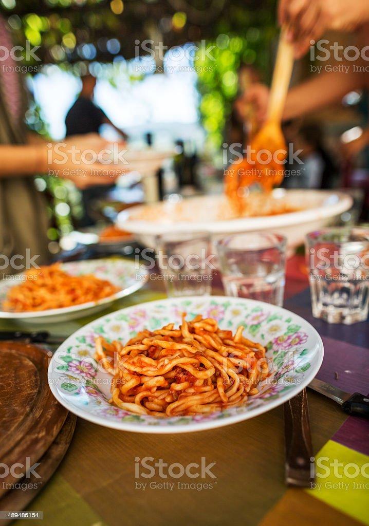 Pasta amatriciana is ready stock photo