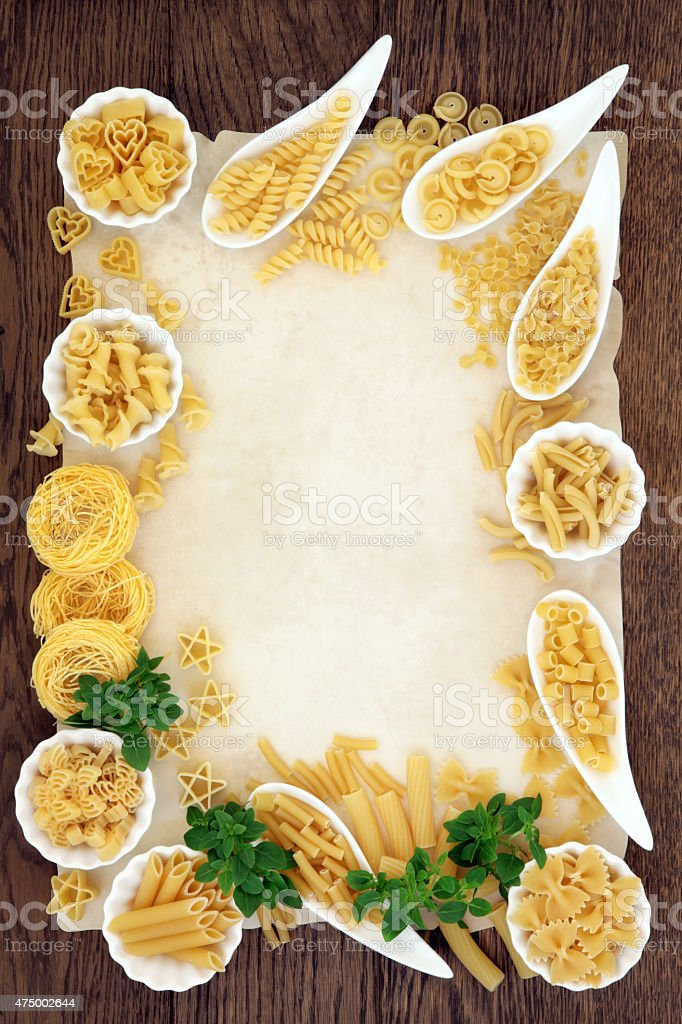 Pasta and Basil Border stock photo