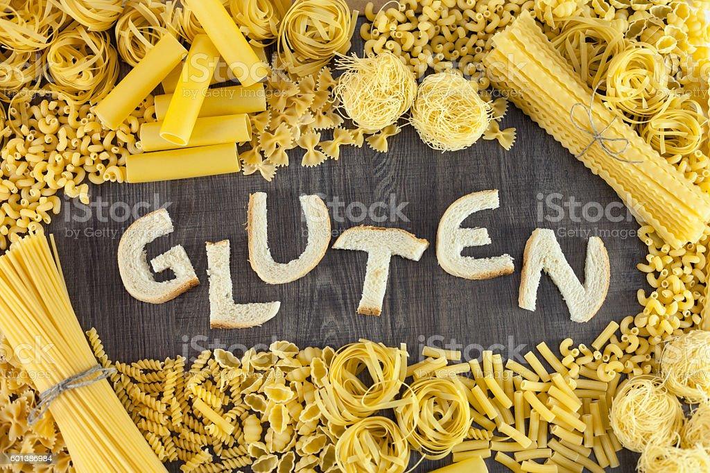 Pasta and bread contains gluten stock photo