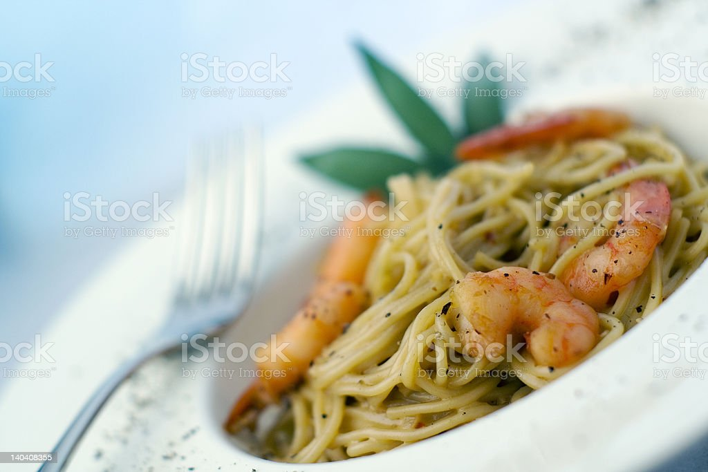 Pasta and Prawns series royalty-free stock photo