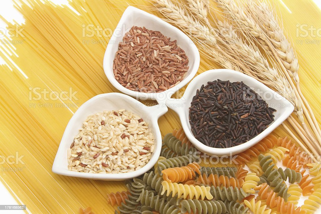 Pasta and rice ,group of carbohydrate products royalty-free stock photo