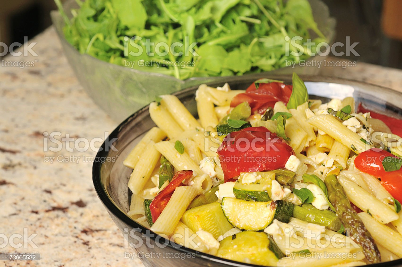 pasta and roasted vegetables royalty-free stock photo