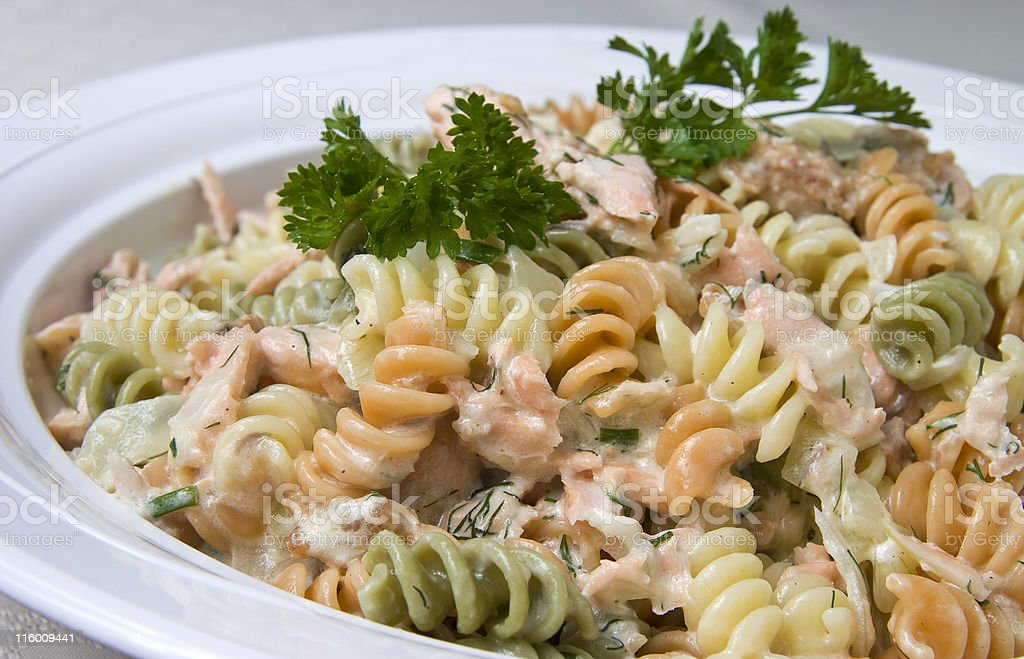 Pasta and salmon stock photo