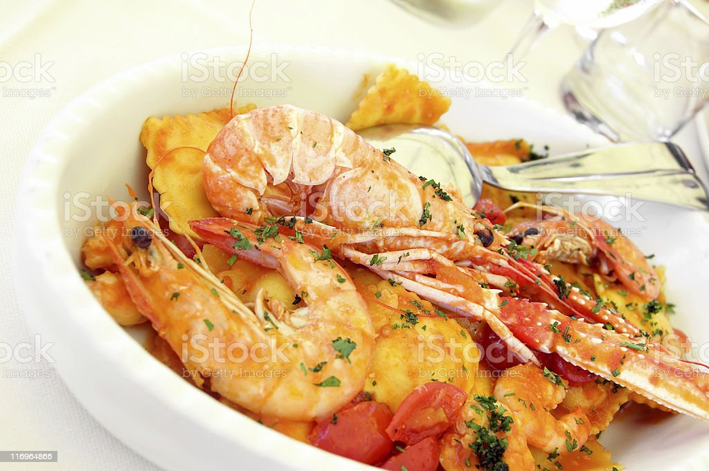 Pasta and seafood royalty-free stock photo