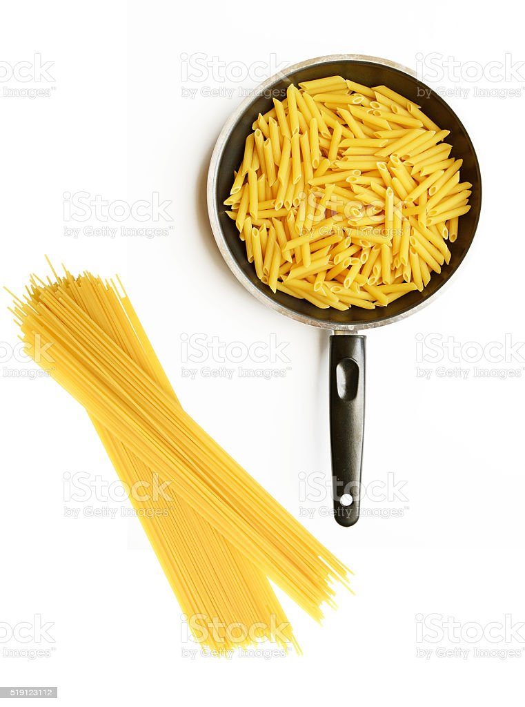 pasta and spaghetti in pan isolate on white stock photo
