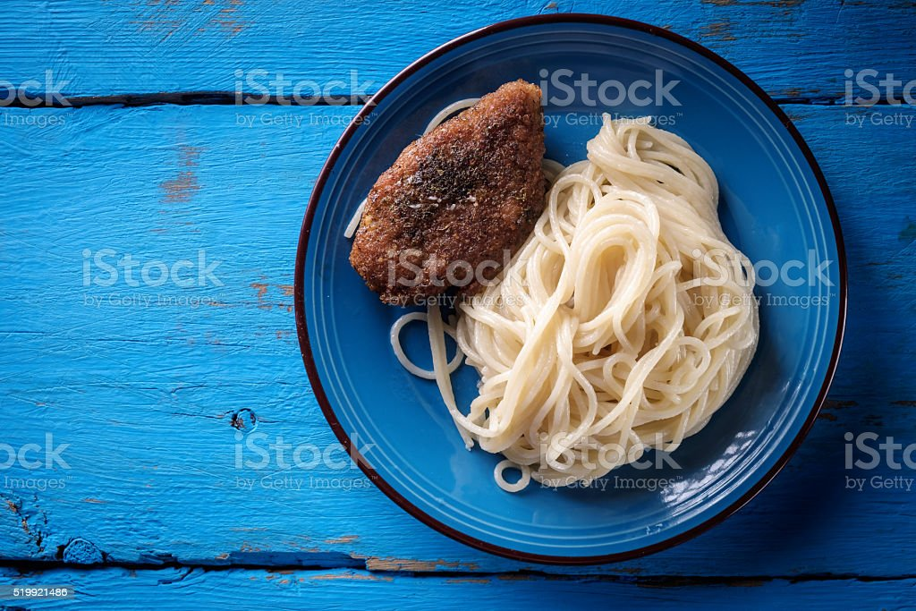 Pasta and steak stock photo