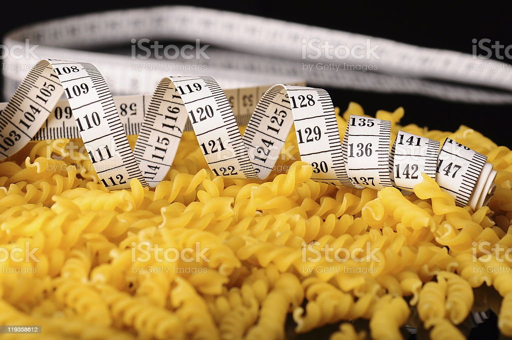 pasta and tapeline royalty-free stock photo