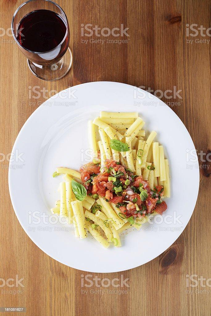 Pasta and Tomato Salsa royalty-free stock photo