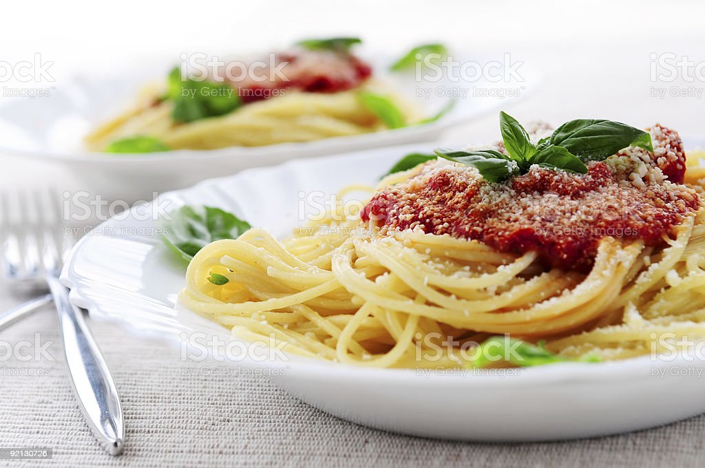 Pasta and tomato sauce stock photo