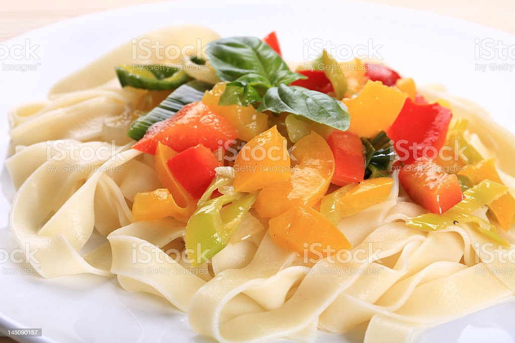 Pasta  and vegetables royalty-free stock photo