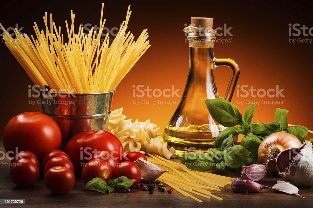 Pasta and vegetables stock photo
