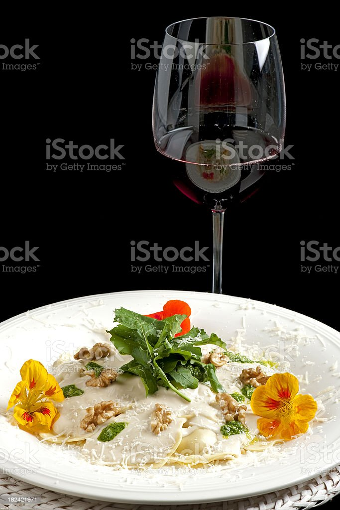 pasta and wine royalty-free stock photo