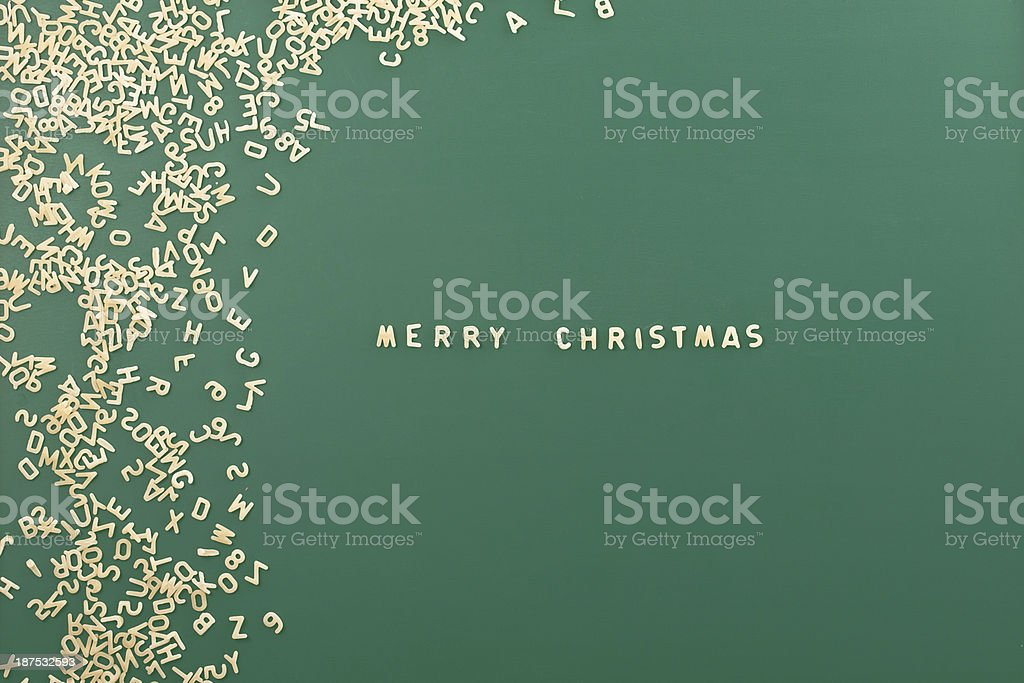 Pasta background with word 'Merry Christmas' stock photo
