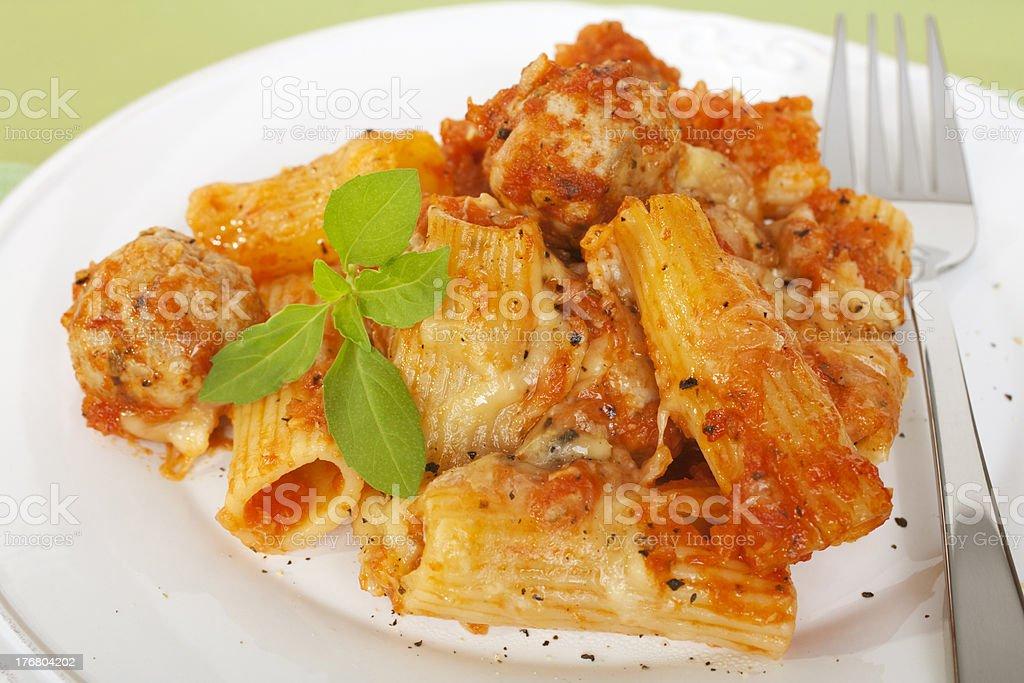 Pasta Bake Italian Sausage Meatballs Casserole Rigatoni Plate royalty-free stock photo