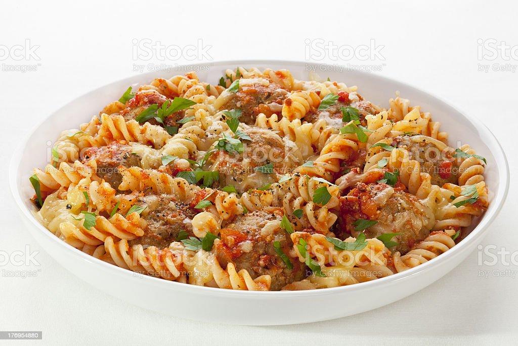 Pasta Bake With Meatballs stock photo