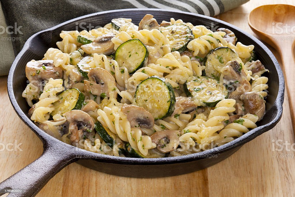 Pasta Bake with Mushrooms and Courgettes stock photo