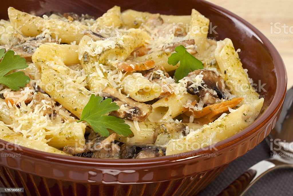 Pasta Bake with Mushrooms and Tuna royalty-free stock photo