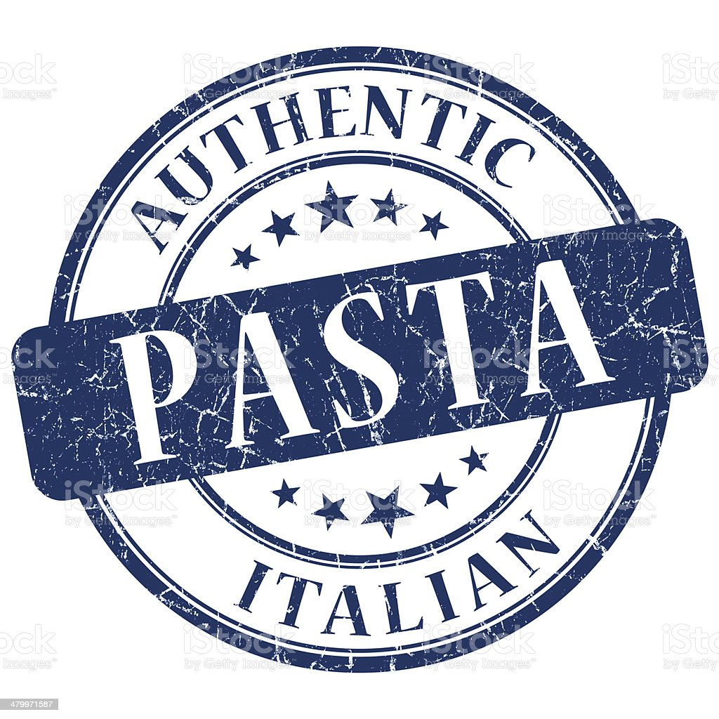 Pasta blue grunge stamp vector art illustration