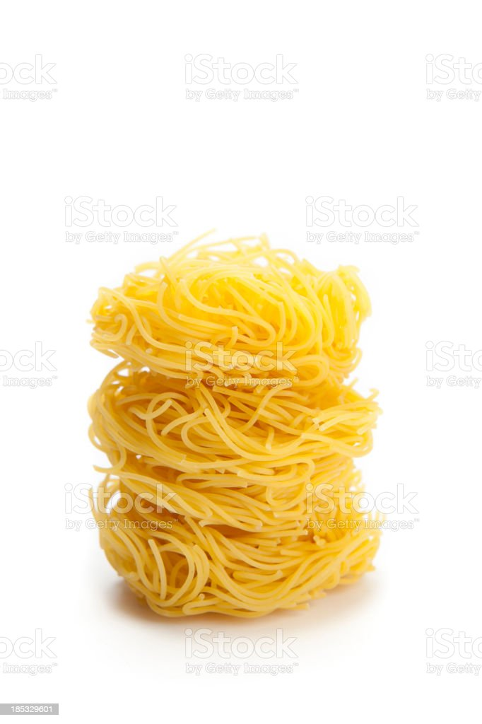 Pasta capelli d'angelo on white background stock photo