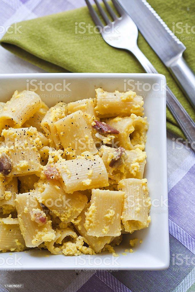 Pasta carbonara (close up) royalty-free stock photo