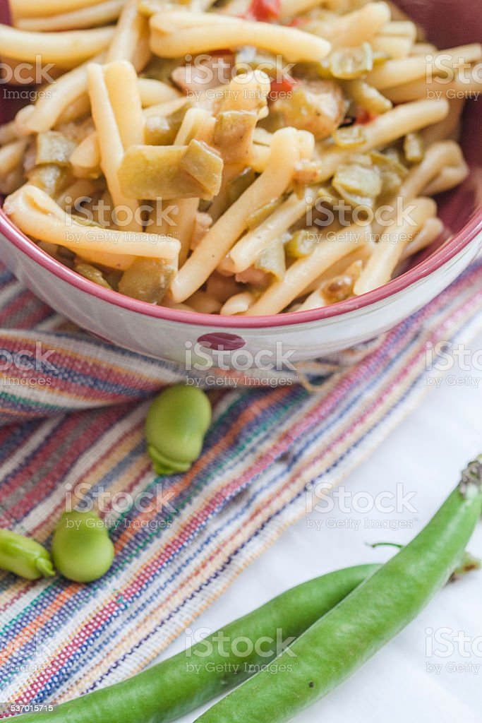 Pasta Caserecce with Fava Beans stock photo