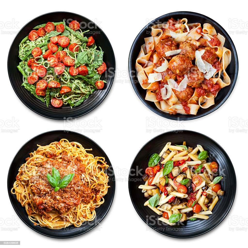 Pasta Collage isolated Overhead View stock photo