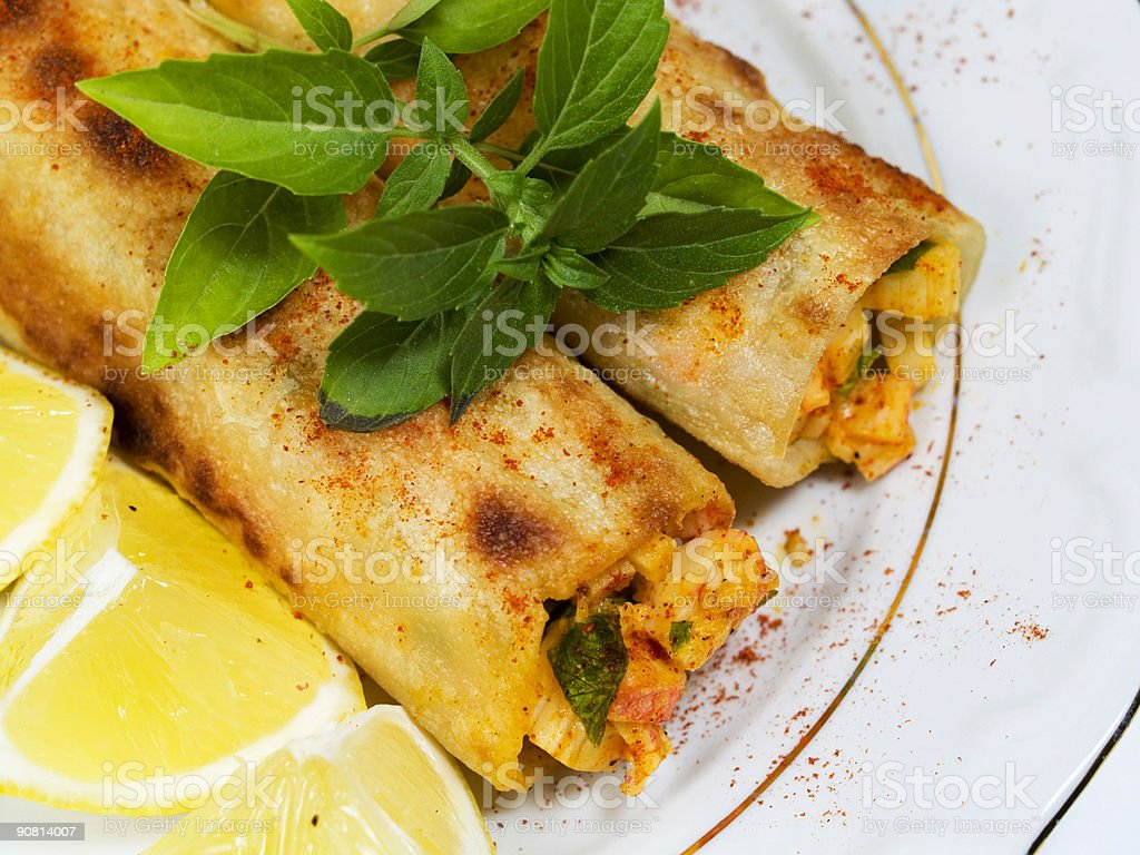 Pasta Collection - Cannellioni with Crab royalty-free stock photo