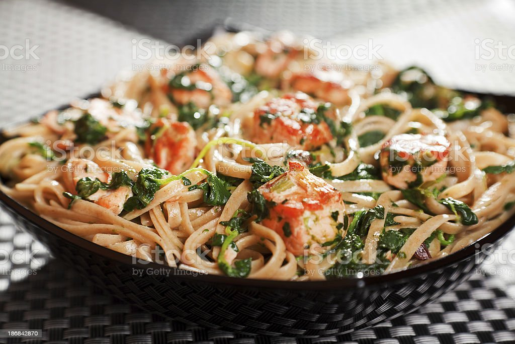 Pasta Collection - Fettuccine with salmon and spinach royalty-free stock photo