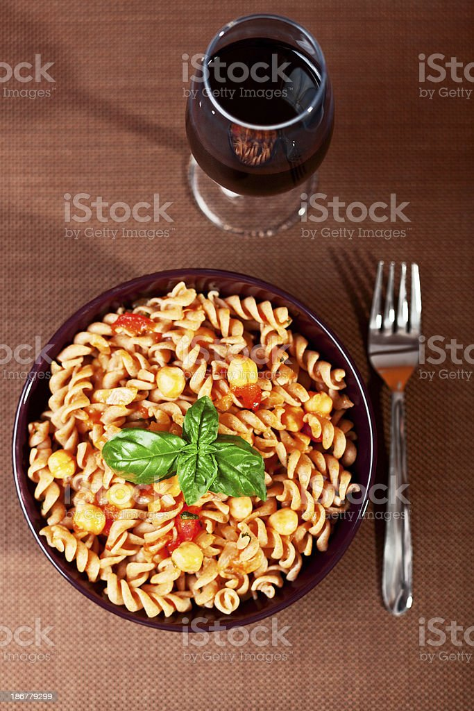 Pasta Collection - Fusilli with chick-peas royalty-free stock photo