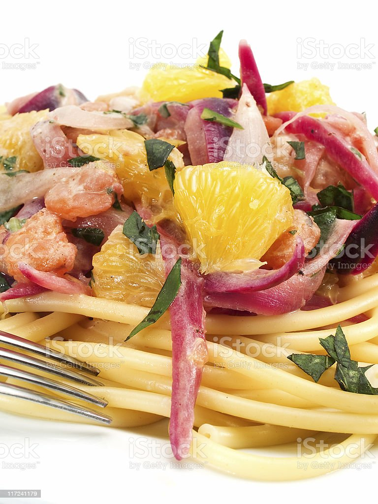 Pasta Collection - Linguini with shrimps royalty-free stock photo
