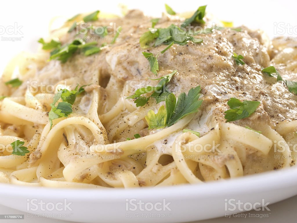 Pasta Collection - Linguini with tuna royalty-free stock photo