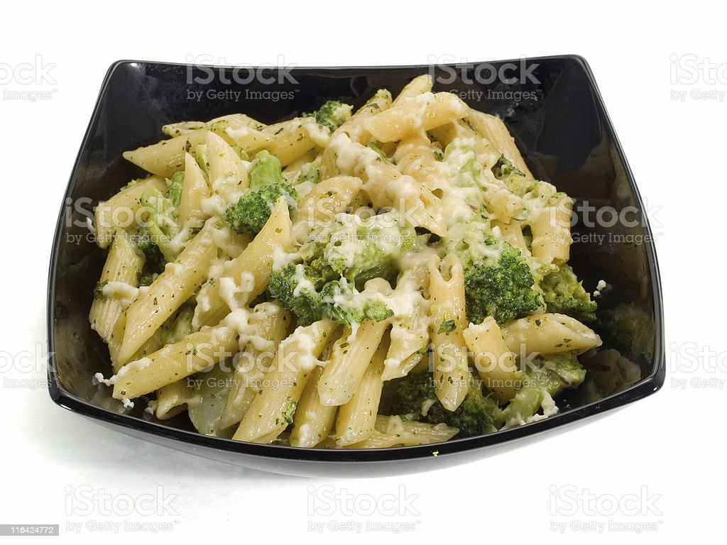 Pasta Collection - Penne With Broccoli and Mozzarella royalty-free stock photo