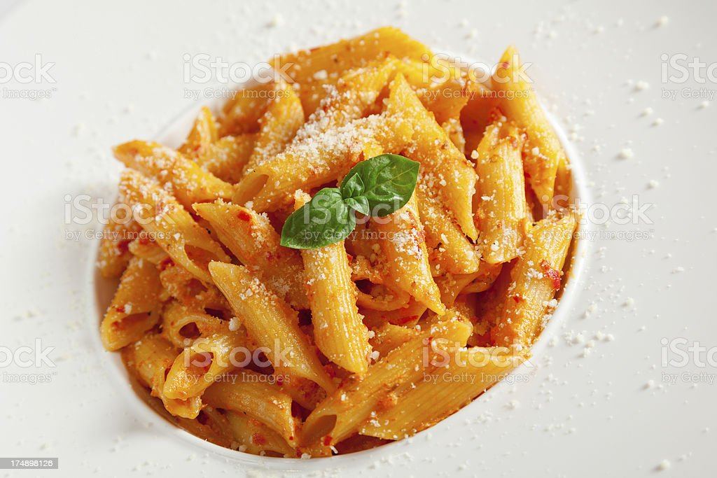 Pasta collection - Penne with cream and peppers royalty-free stock photo