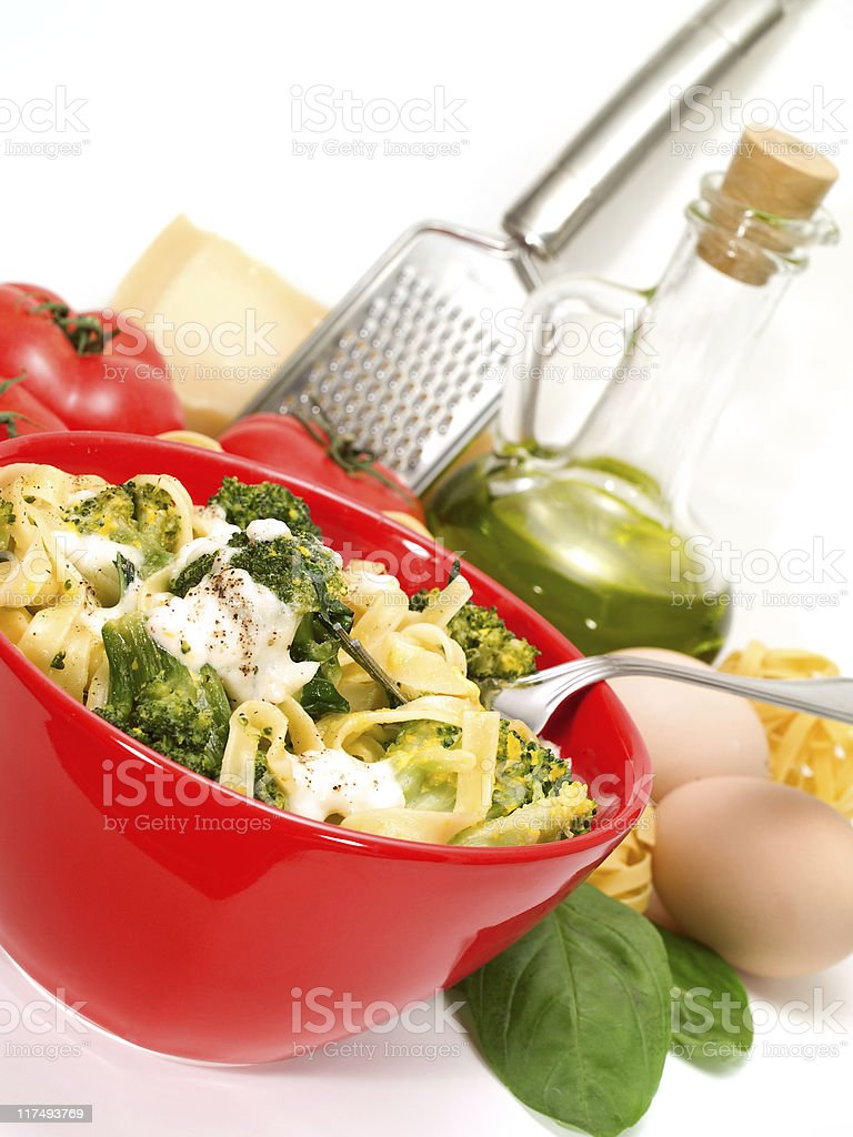 Pasta Collection - Tagliatelle with brocolli royalty-free stock photo