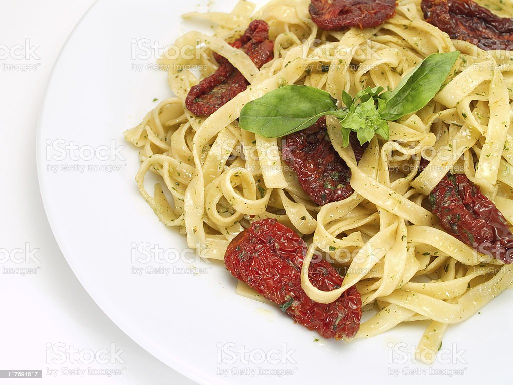 Pasta Collection - Tagliatelle with dried tomatoes royalty-free stock photo