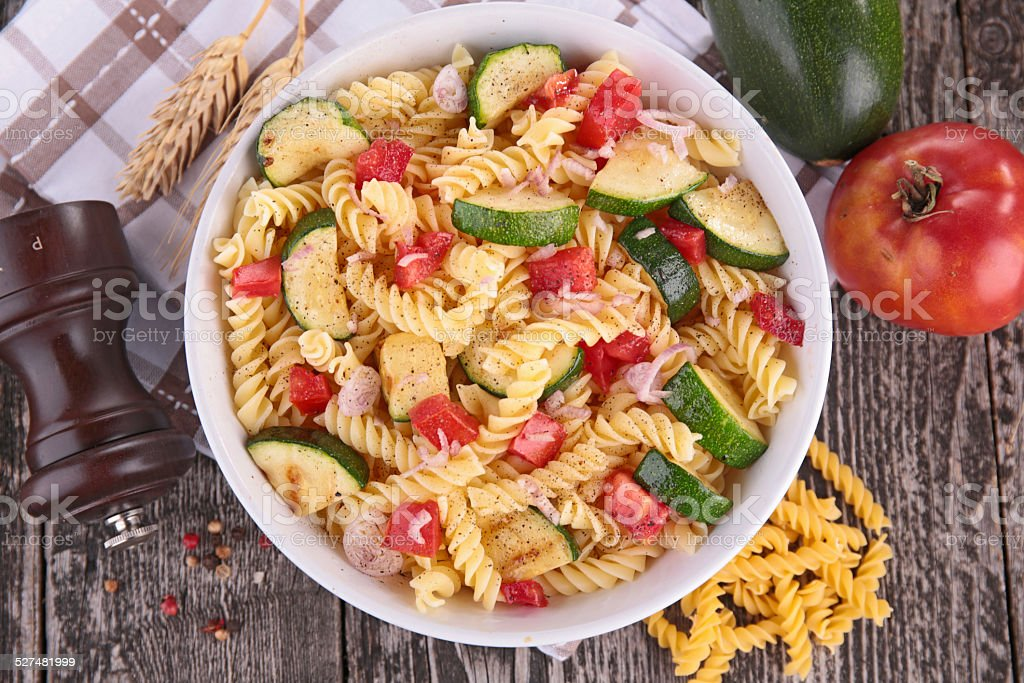 pasta cooked with vegetables stock photo