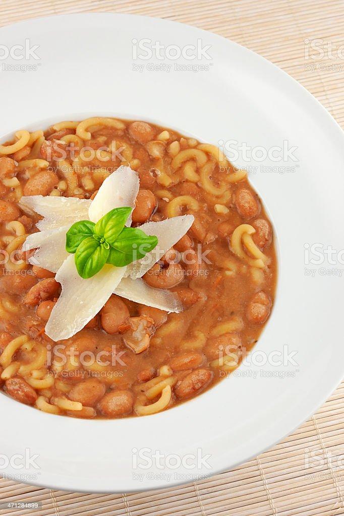 Pasta e fagioli (Pasta with Beans Soup) royalty-free stock photo