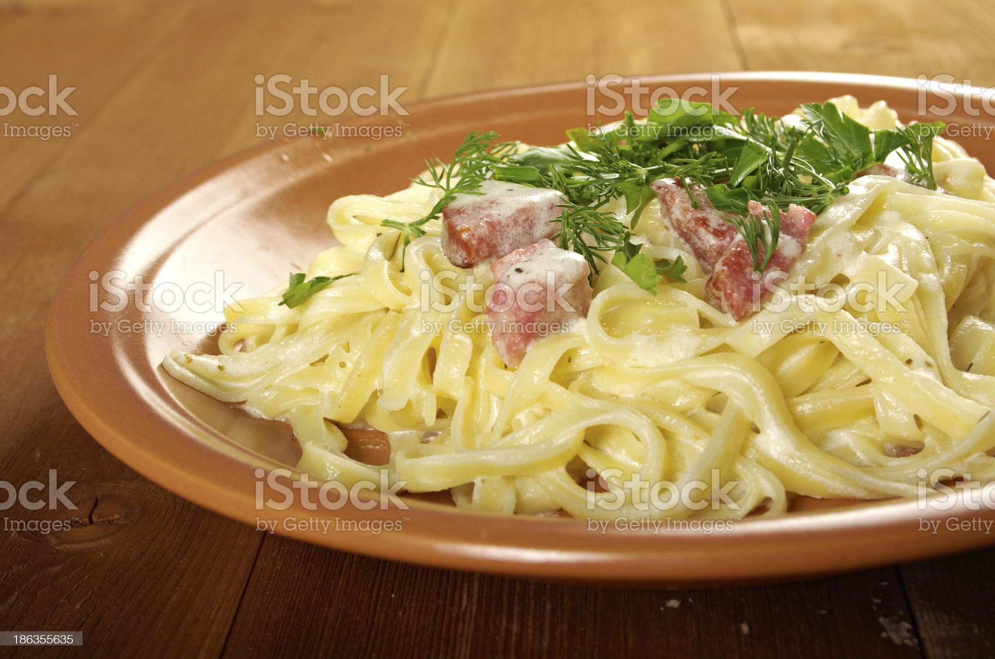 pasta Fettuccine Alfredo royalty-free stock photo
