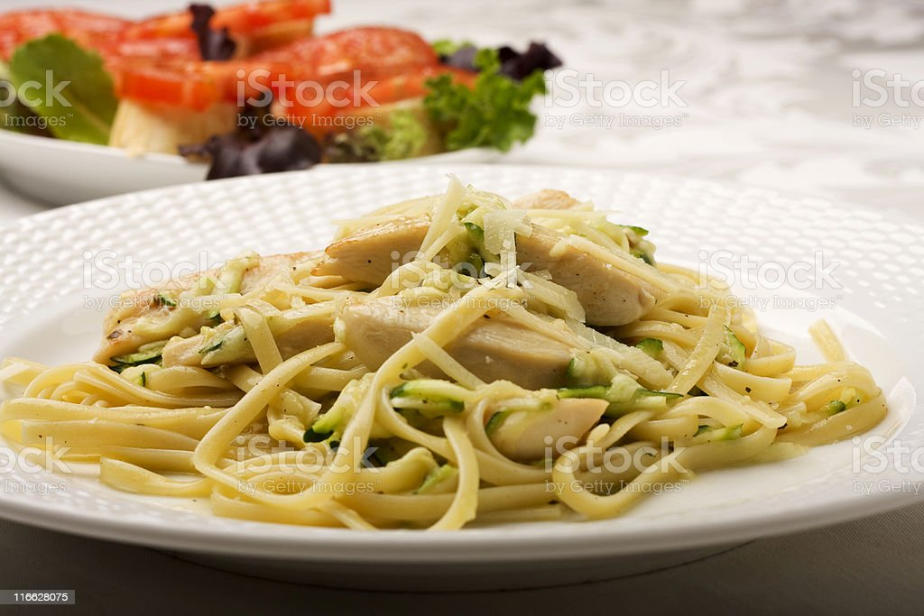 Pasta in a Chicken and Zucchini Sauce. royalty-free stock photo