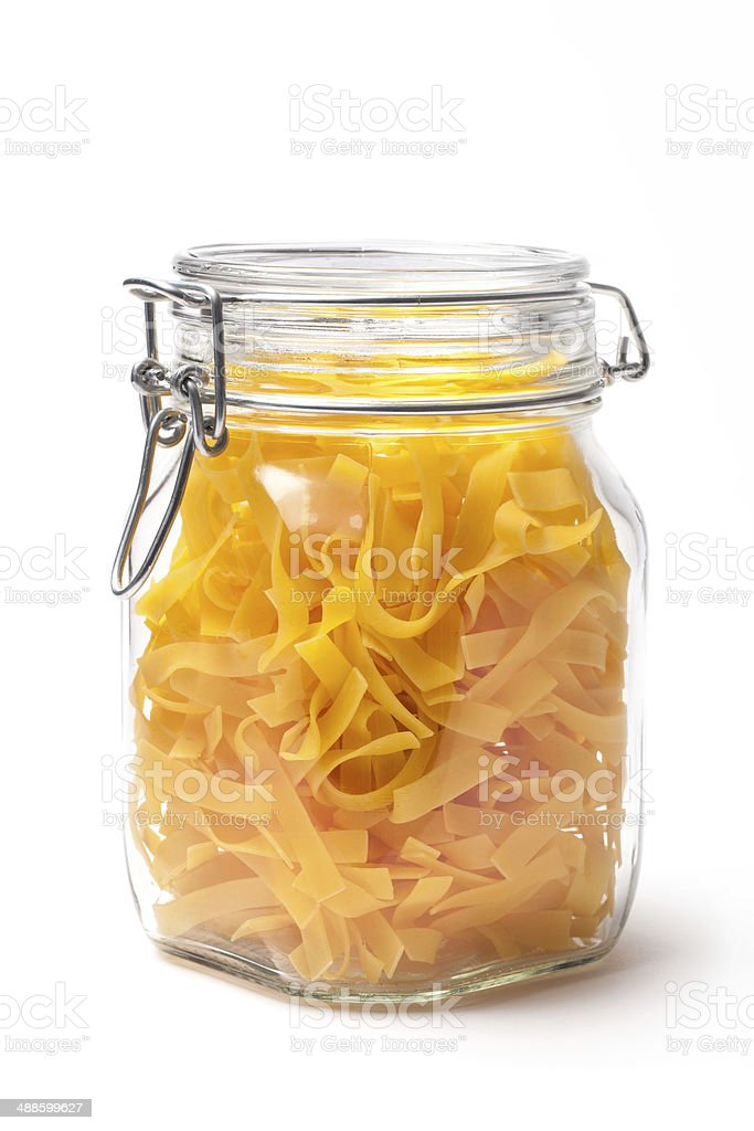 Pasta In a Closed Jar on White royalty-free stock photo