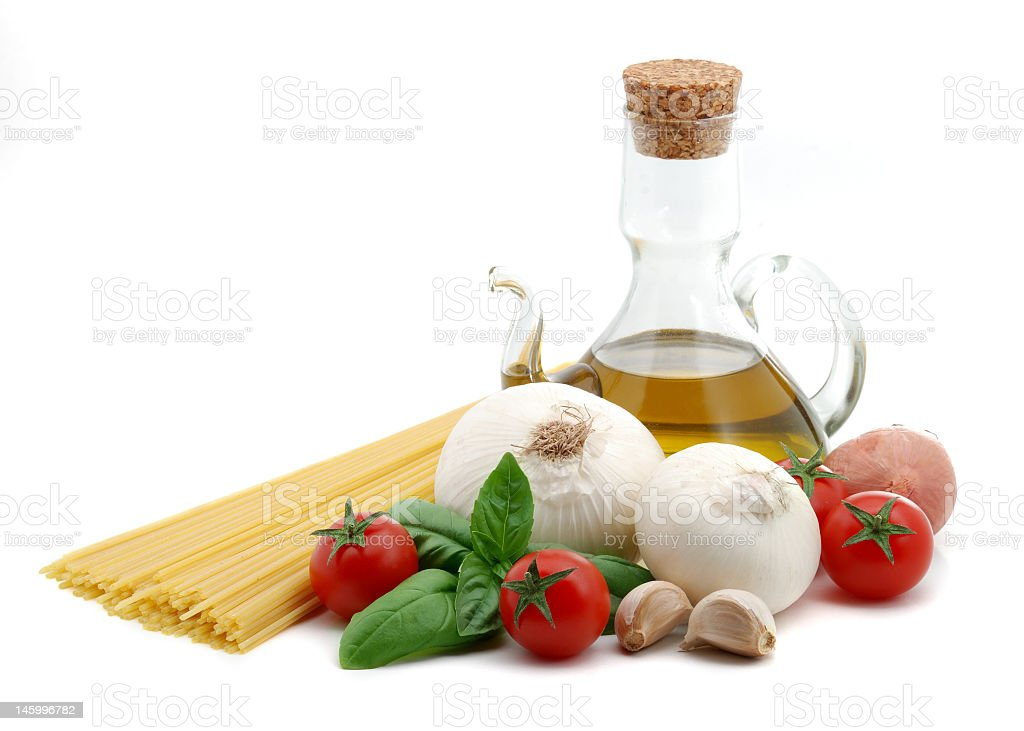 Pasta ingredients on a white background royalty-free stock photo