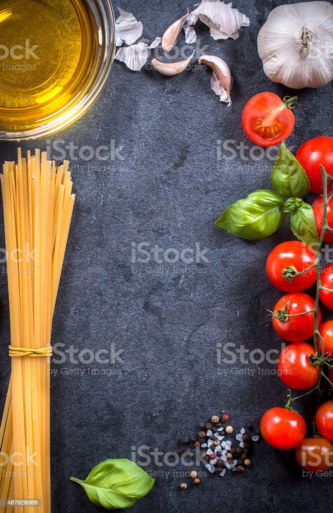 Pasta ingredients ready to be cooked stock photo