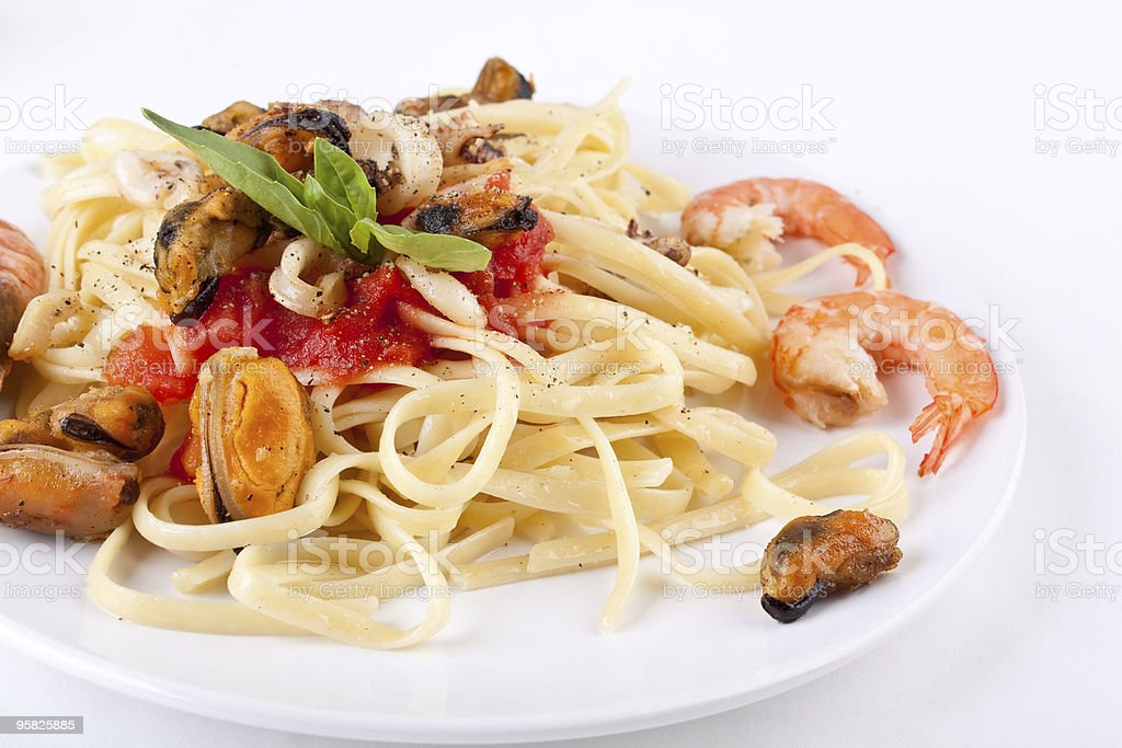 pasta linguine with  marinara sauce and seafood royalty-free stock photo
